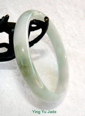 Glowing White and Soft Green Veins Old Mine Lao Pit Jadeite Bangle 57.5mm (BB2851)