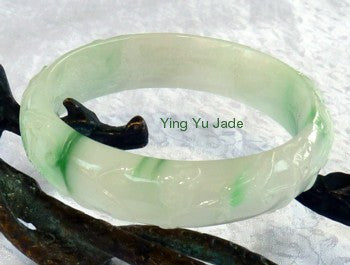 """Bat and Flowers"" Carved Jadeite Jade Bangle Bracelet 53.5mm (BB2855)"