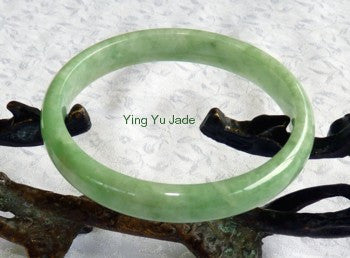 Vintage Slender Varied Green Veins Jadeite Jade Bangle Bracelet Small Size 54mm (TIBB-2857)
