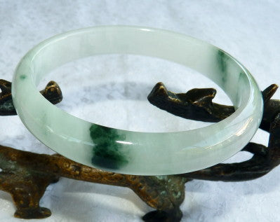 """Icy"" Good Green Veins Translucent Burmese Jadeite ""Old Mine' Bangle Bracelet 63mm (BB2863)"