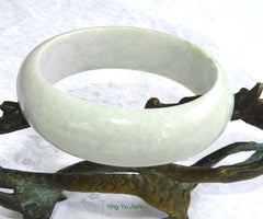 "Ying Yu's Jewelry Box-""Now You See It, Now You Don't"" Tiny Green Veins, Soft Lavender Hues White Jadeite Jade Bangle Bracelet 55mm (BB2867)"