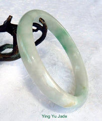 Large/Men's Apple Green Veins on White Genuine Burmese Jadeite Jade Bangle Bracelet 69.5mm (BB2872)