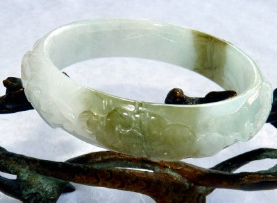 "Auspicious Spiritual Carved Burmese Jadeite ""Old Mine"" Bangle Bracelet 57 mm (BB2901)"