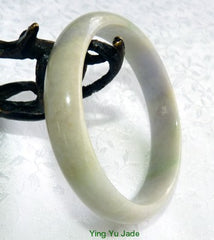 """Mysterious"" Lavender Green Burmese Jadeite ""Old Mine"" Bangle Bracelet 59mm (BB2906)"