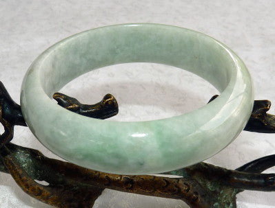 "Burmese Jadeite ""Old Mine"" Grade A Varied Green Bangle Bracelet 55mm (BB2907)"