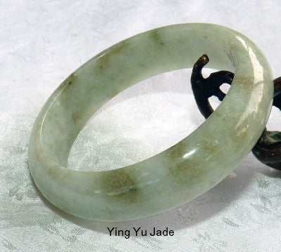 """Calm Spirit"" Small ""Old Mine"" Burmese Jadeite Bangle Bracelet 50 mm (BB2915)"