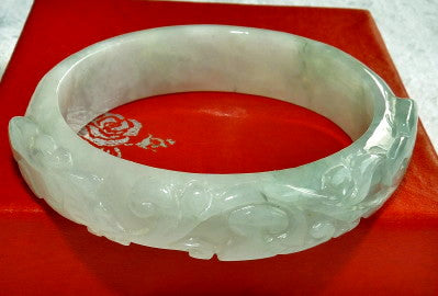 Small Oval Carved Lotus Coin Flowers Burmese Jadeite Bangle Bracelet (Fits Like 50mm) (BB2916)