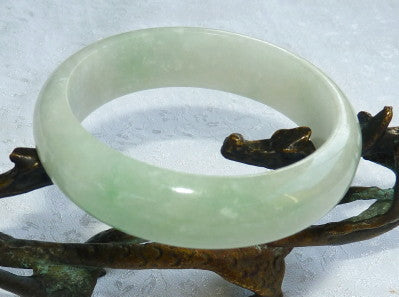 """Calm Spirit"" Translucent Burmese Jadeite Bangle Bracelet 57.5mm (BB2917)"