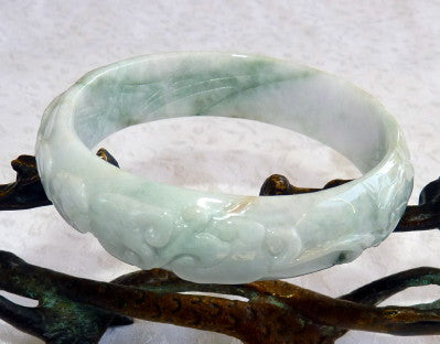 "Phoenix, Lotus, Lucky Coin Carved ""Lao Pit"" Burmese Jadeite Bangle Bracelet 57.5mm (BB2922)"