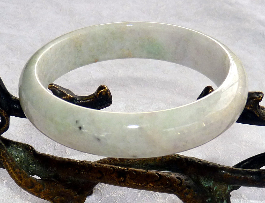 """Endlessly Interesting"" Spiritual White Burmese Jadeite Bangle Bracelet 58mm (BB2923)"