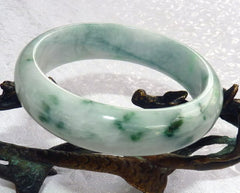 """Overcoming Adversity"" Old Mine Burmese Jadeite Bangle Bracelet 59mm (BB2925)"