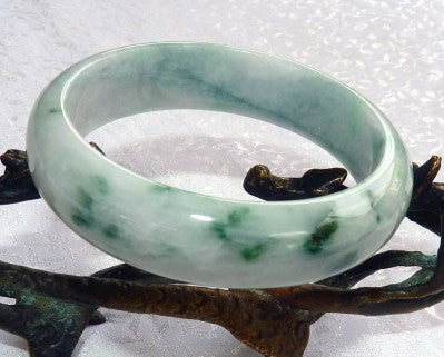 """Powerful Assertive Woman"" Burmese Jadeite ""Old Mine"" Bangle Bracelet 59 mm (BB-2925)"