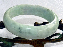 """Peaceful Earth"" Green Burmese Jadeite ""Old Mine"" Bangle Bracelet 60 mm (BB-2926)"