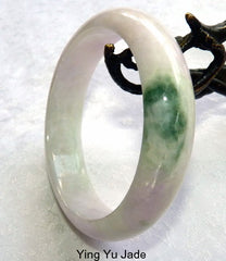 """Bliss"" White with Lavender Hues, Big Green Vein ""Old Mine"" Burmese Jade Bangle Bracelet  59mm (BB-2927)"
