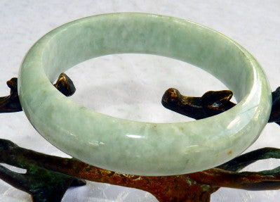 "Classic Traditional Green Burmese Jadeite ""Old Mine"" Bangle Bracelet 57mm (BB2928)"