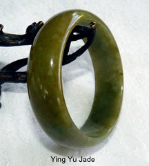 """Happy Healing Green"" Genuine Natural Burmese Jadeite Bangle Bracelet 55mm (BB2930)"