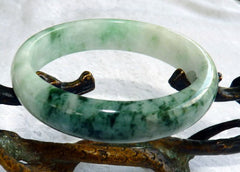 """Live Life Well"" Old Mine Burmese Jadeite Bangle Bracelet 56mm (BB-2932)"