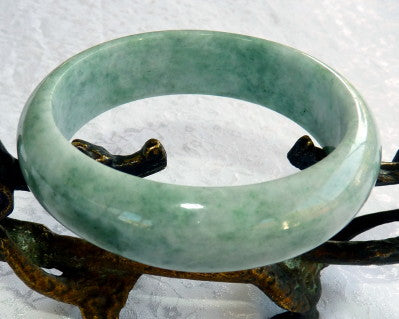 """Good Green"" Genuine Natural Burmese Jadeite Bangle Bracelet 59 mm (BB2936)"