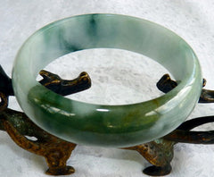 """Yin and Yang"" Burmese Jadeite ""Old Mine"" Bangle Bracelet 59 mm (BB2953)"
