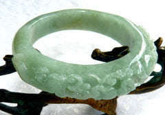 """Two Dragons Protect Coins, Flowers"" Burmese Jadeite ""Old Mine"" Bangle Bracelet 55 mm (BB2977)"