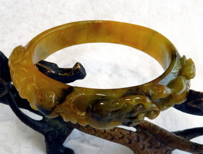 """Freedom"" Rare Elegant Small Oval Burmese Jadeite Bangle Bracelet with Carving Fits Like 51 mm (BB2979)"