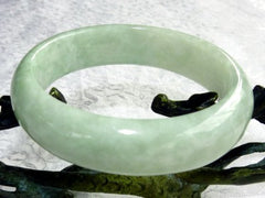 "Icy Cold Yin Soft Green Burmese Jadeite Bangle Bracelet ""Cuff Style"" 57mm (BB3153)"