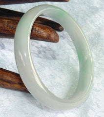 "Precious ""Kiss of Imperial Green"" on White Old Mine Lao Pit Jadeite Jade Bangle 55.5mm (BB606)"