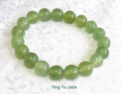 Large - Men's Classic Chinese Jade Stretch Bead Bracelet (BeadB-M)
