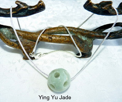 Genuine Natural Hollow Carved Jadeite Jade Grade A Bead on Silver Chain Necklace