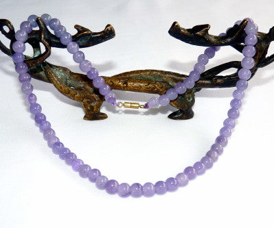 "Lavender Jade Bead Necklace 16"" - Last One!"