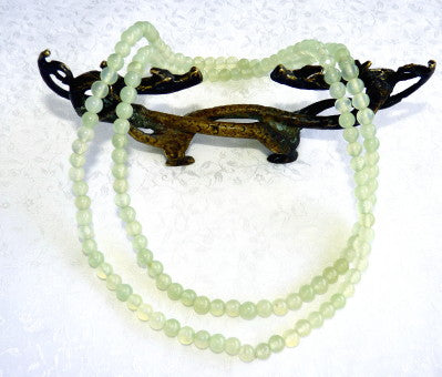 "Chinese Jade Translucent Bead 35"" Necklace"