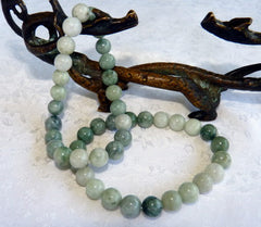 """Yin and Yang"" Balancing Burmese Jadeite 8mm Beads Stretch Bracelet   (BJBeads-17)"