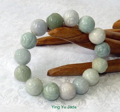Carved Burmese Jadeite Grade A  Beads Stretch Bracelet
