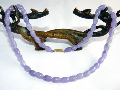 Clearance - Lavender Burmese Jadeite Bead Necklace 17""