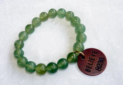 """Follow Your Path"" Jade Bead Mala Bracelets with Philosophy Inspiration ""BELIEVE""  Wear Your Intention Word"