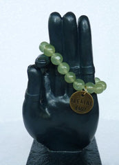"""Follow Your Path"" Jade Bead Mala Bracelet with Philosophy Inspiration BREATHE"