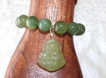 Chinese Jade Prayer Bead Bracelet with Buddha Charm