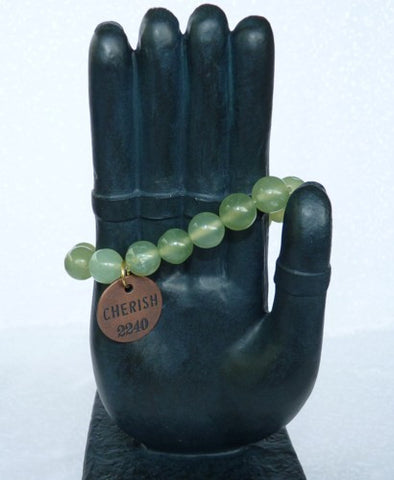 """Follow Your Path""  Jade Bead Mala Bracelet with Philosophy Inspiration ""CHERISH"" Wear Your Intention Word"