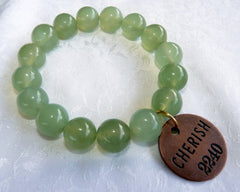 "Chinese Jade Prayer Bead Mala Bracelet with Philosophy Inspiration ""CHERISH"" Wear Your Intention Word"