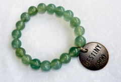 "Chinese Jade Prayer Bead Mala Bracelet with Philosophy Inspiration ""DESTINY""  Wear Your Intention Word"