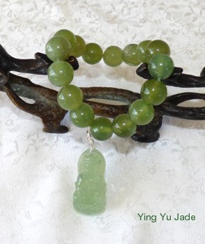 Jade Prayer Bead  Mala Bracelet with Guan Yin (Buddha of Compassion)  Charm