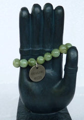 """Follow Your Path""Jade  Bead Mala Bracelet with Philosophy Inspiration ""IMAGINE"" Wear Your Intention Word"