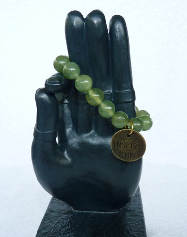 """Follow Your Path"" Jade Bead Mala Bracelet with Philosophy Inspiration  ""INSPIRE"" -Wear Your Intention Word"