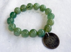 """Follow Your Path"" Jade Bead Mala Bracelet with Philosophy Inspiration-JOURNEY  Wear Your Intention Word"