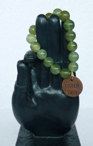 "Last One!-Chinese Jade Bead Mala Bracelet with Philosophy Inspiration ""LISTEN""  Wear Your Intention Word"