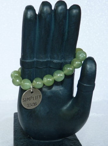 Chinese Jade Prayer Bead Mala Bracelet with Philosophy Inspiration - SIMPLIFY   Wear Your Intention Word