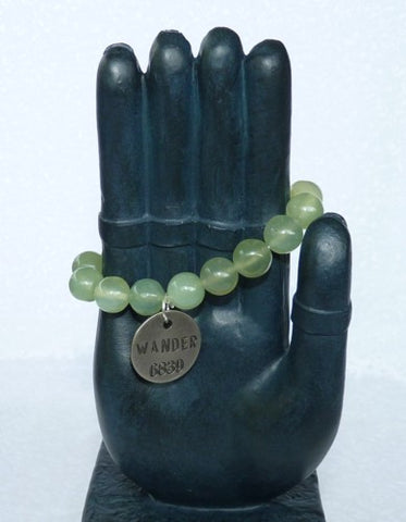 "Chinese Jade Prayer Bead Mala Bracelet with Philosophy Inspiration ""WANDER""  Wear Your Intention Word"