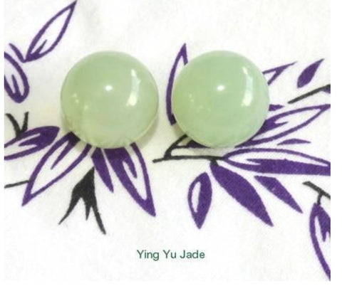 Clearance-Pair Green Chinese  Jade Ben Wa Kegel Balls Drilled with Hole