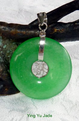 "Green Jadeite  ""Bi"" Donut  ""Fortune and Luck"" Pendant Sterling Silver Bail (P-917-7)"