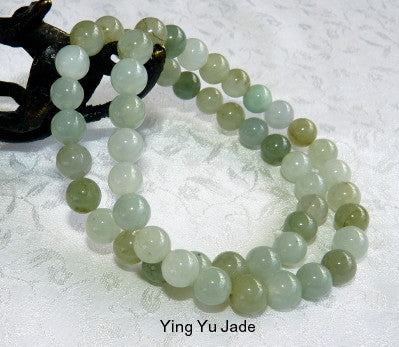 """Glowing"" Burmese Jadeite Stretch Bead Bracelet (YYJ-B-8)"